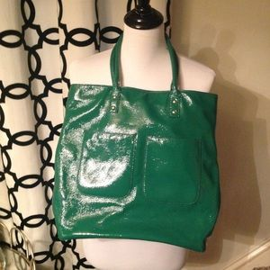 J Crew Green Patent Leather Tote Bag